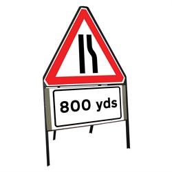 750mm Road Narrows Right 800 Yards