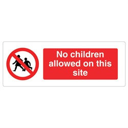 No Children On Site Rigid Plastic Sign