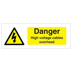 Warning Cables Overhead Rigid Plastic Sign
