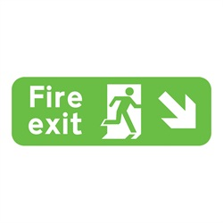 Fire Exit Down Right Rigid Plastic Sign