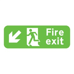 Fire Exit Down Left Rigid Plastic Sign
