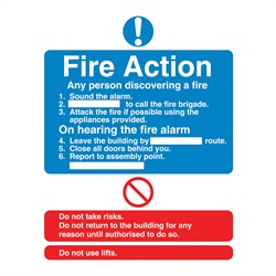 Fire Action Rigid Plastic Sign